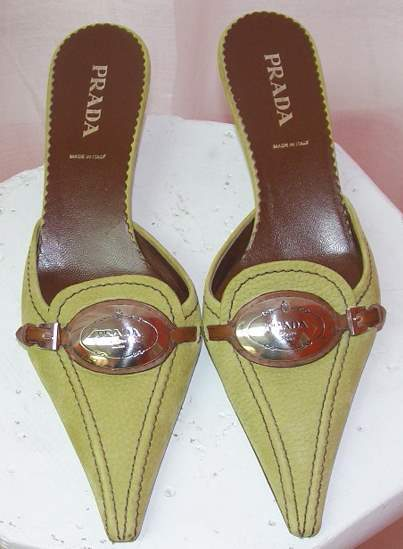 Image of Prada Citrus Green Pointy Toe Mules