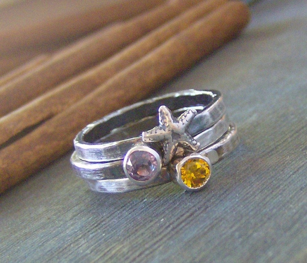 Image of Sea Stones hand stamped sterling silver and gem stone and starfish stacking rings