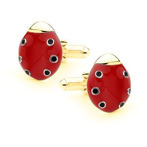 Image of Bears Of Hope Ladybird Cufflinks - 9ct Solid Yellow Gold (Ceramic Colouring)