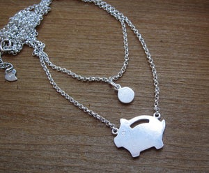 Image of Piggy Bank Necklace - Handmade Silver Necklace