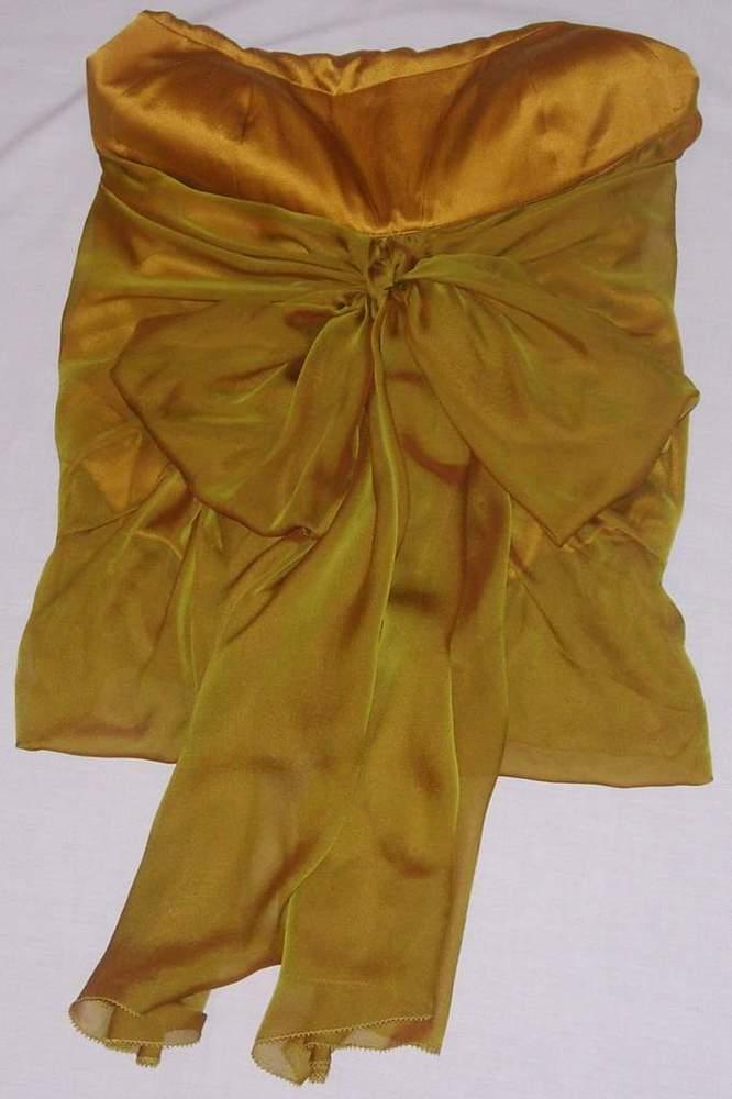 Image of KaufmanFranco Gold Sleeveless Chiffon Blouse