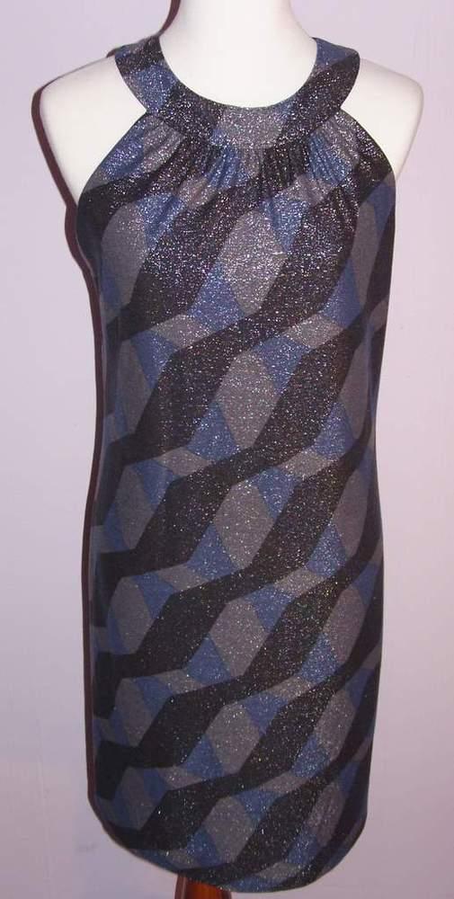 Image of Elie Tahari Blue & Grey Sleeveless Shimmery Dress