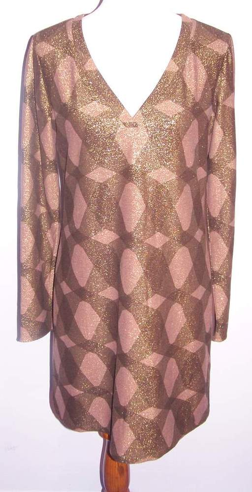 Image of Elie Tahari Bronze Long Sleeve Shimmery Dress