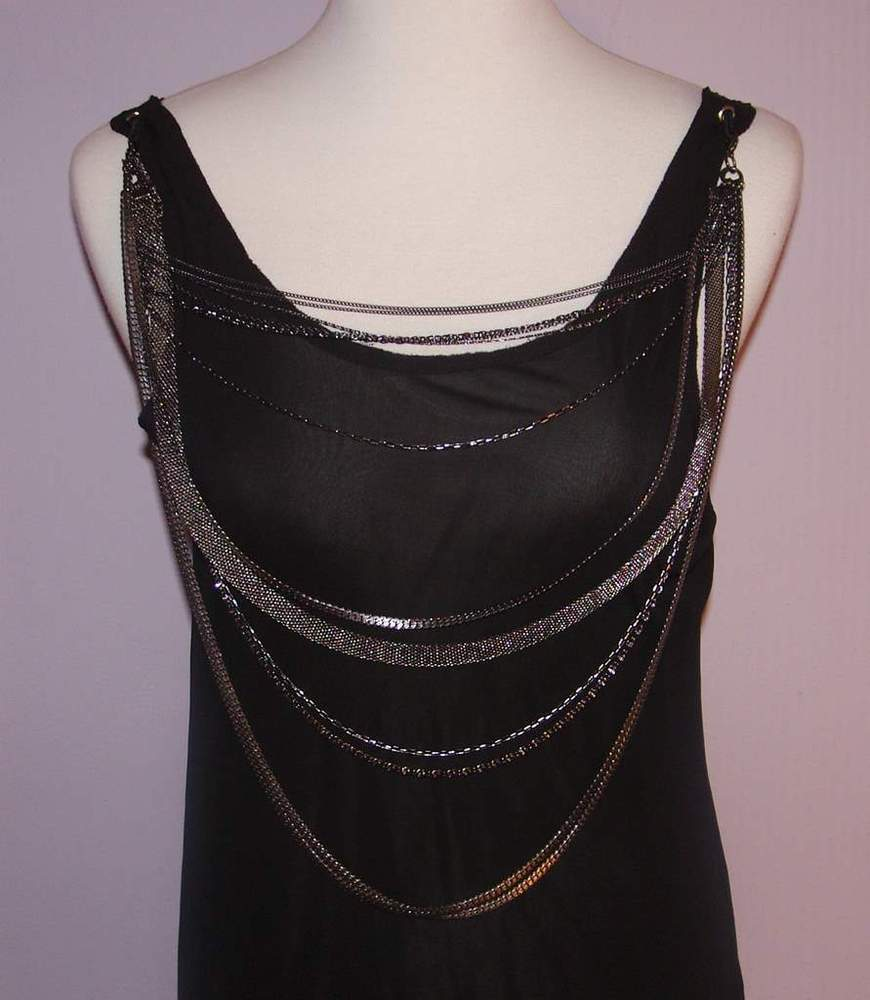 Image of Alice + Olivia Black Tunic With Fabulous Chain Detail