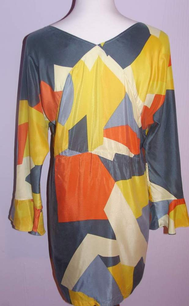 Image of See By Chloe Gorgeous Multi -Color Geometric Print Dress