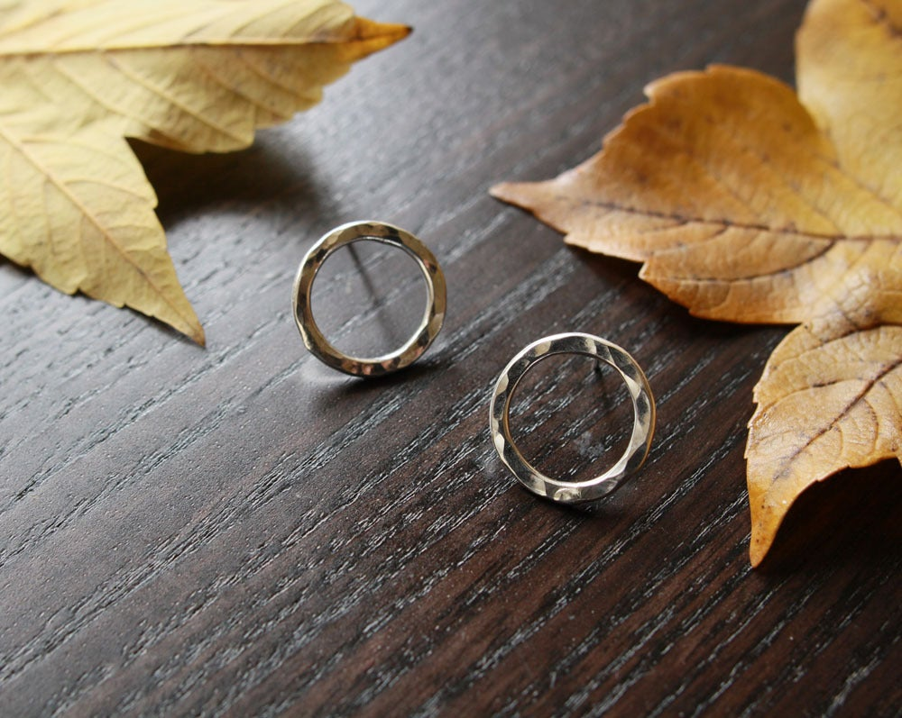 Image of petite circle stud earrings