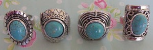 Image of Vintage Turquoise Stone Silver Tone Rings