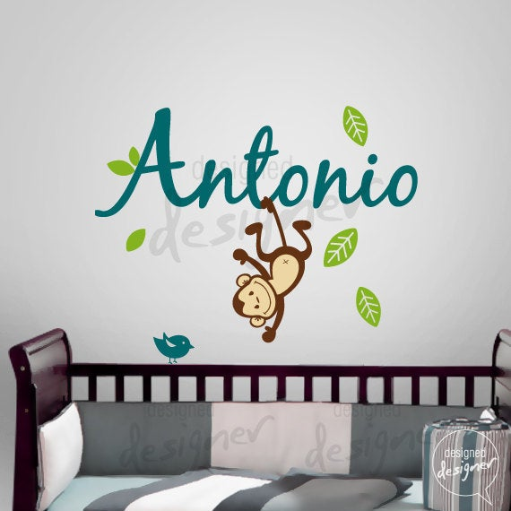 Custom girl boy children wall decal sticker tree decal name with monkey dd1063