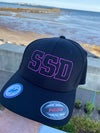 Limited Black fitted Flexfit Hat with Magenta SSD Outline Logo