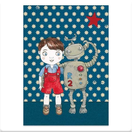 Image of Carte postale garçon et robot
