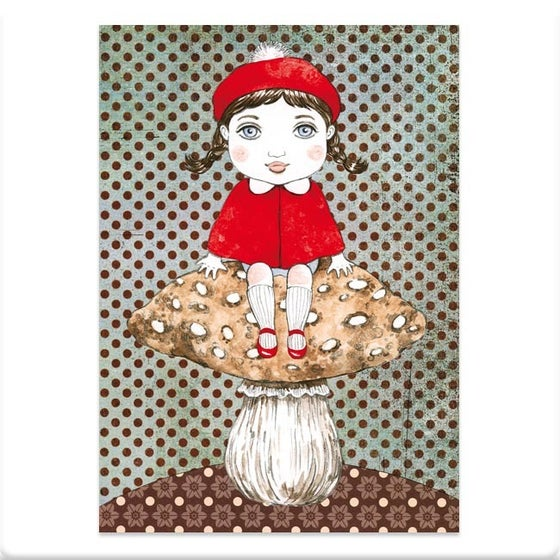 Image of Carte postale fille au champignon