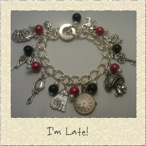 Image of 'I'm Late!' Alice in Wonderland Themed Charm Bracelet