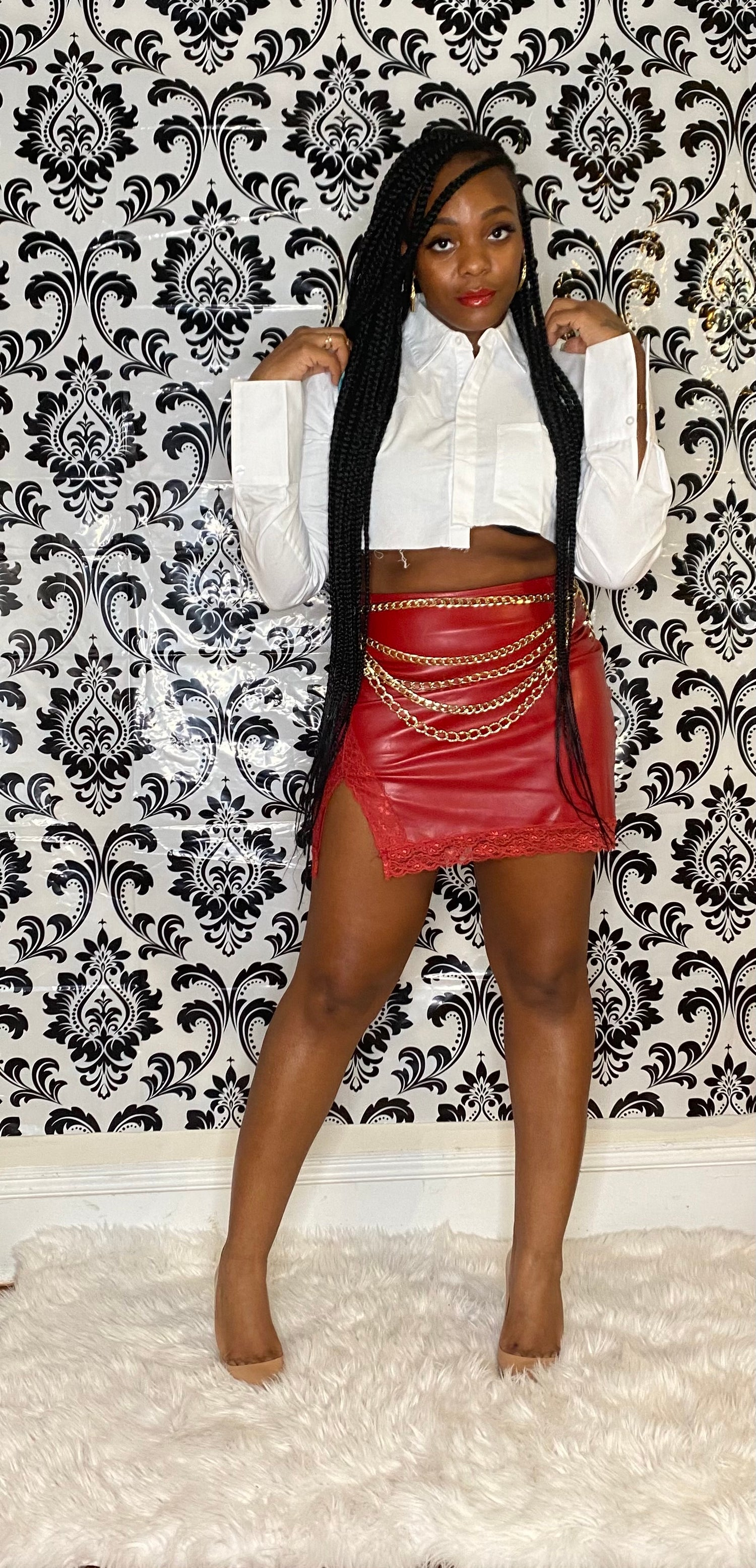 """Image of """"Leather & Lace"""" skirt"""