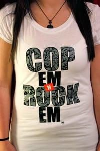 Image of CopEmNRockEm Women's Signature Tee (Cement)