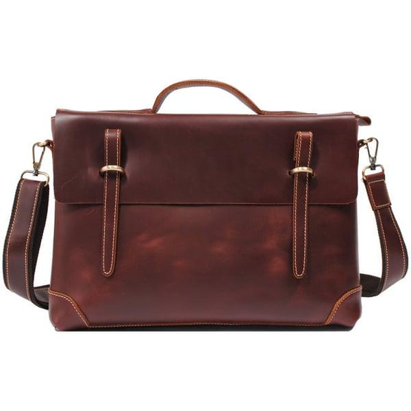 """Image of Handmade Leather Briefcase / Messenger / 13"""" 14"""" Laptop 13"""" 15"""" MacBook Bag in reddish brown (n04R)"""