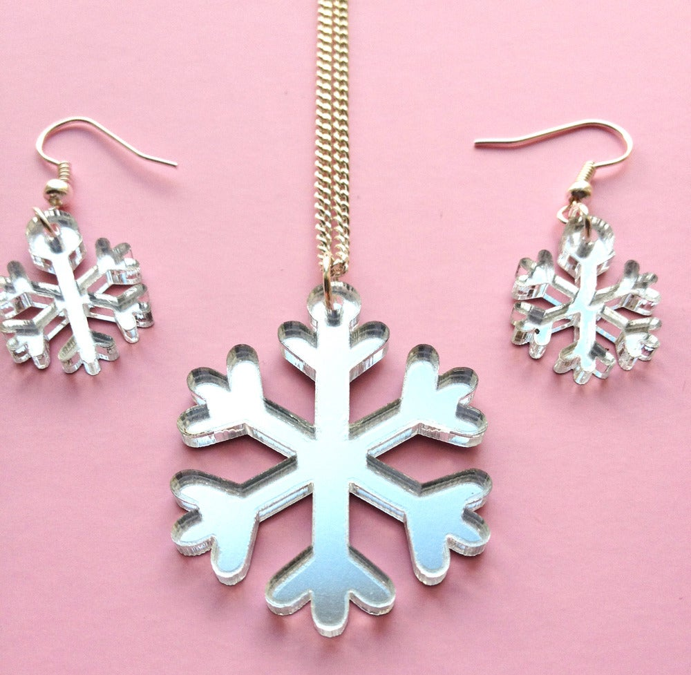 Image of Snowflake Necklace & Earrings