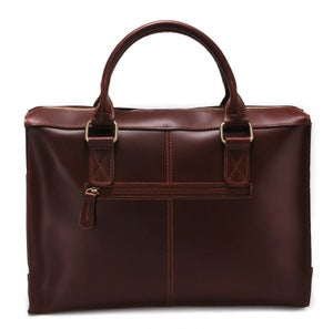 Image of Handmade Genuine Leather Briefcase Laptop Messenger Bag in reddish brown Hard Cowhide (n22)