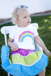 Image of Rainbow tiered twirl skirt and shirt