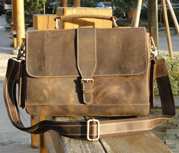 Image of Vintage Handmade Antique Crazy Horse Leather Briefcase Messenger Laptop Bag in Old Brown (n20-3)