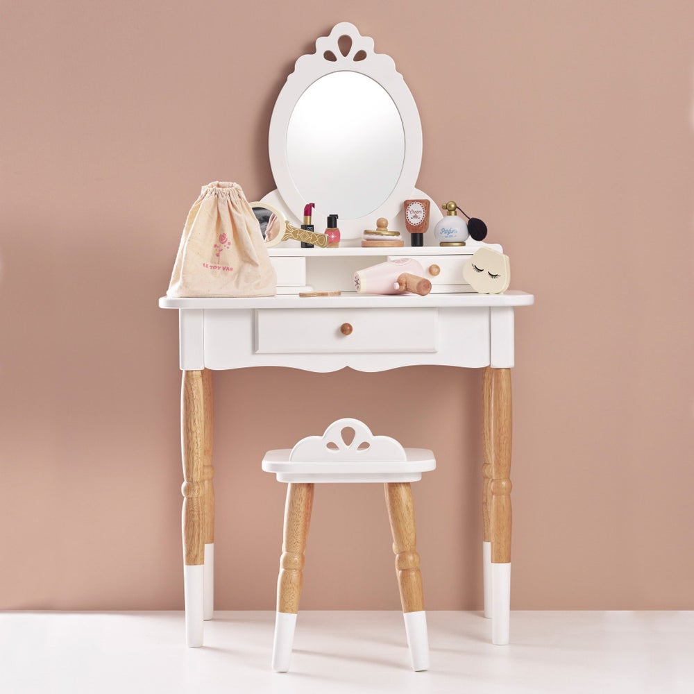 Image of White & Wood Vanity Table ***DELIVERY AFTER 1st NOVEMBER***
