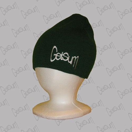 Image of Green Beanie w/White