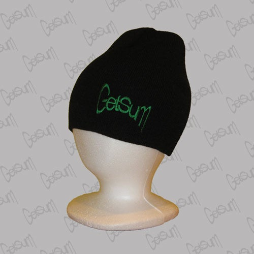 Image of Black Beanie w/Green