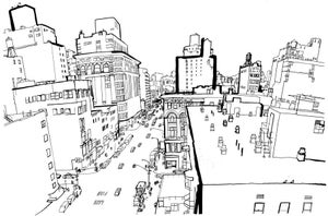 Image of Looking south on 6th Avenue Print