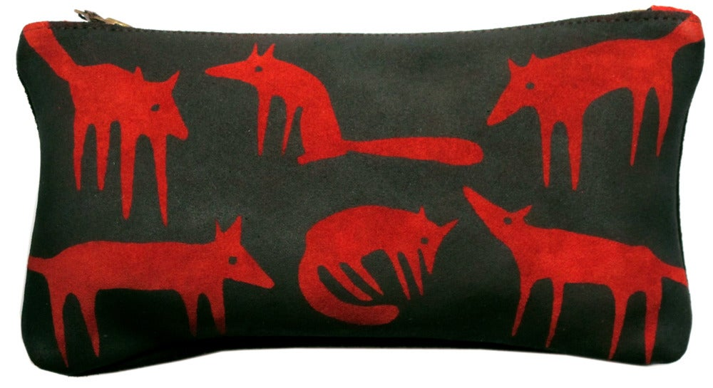 Image of Suede Red Fox Large Purse