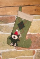 Image 1 of Holiday Owl on Green Argyle