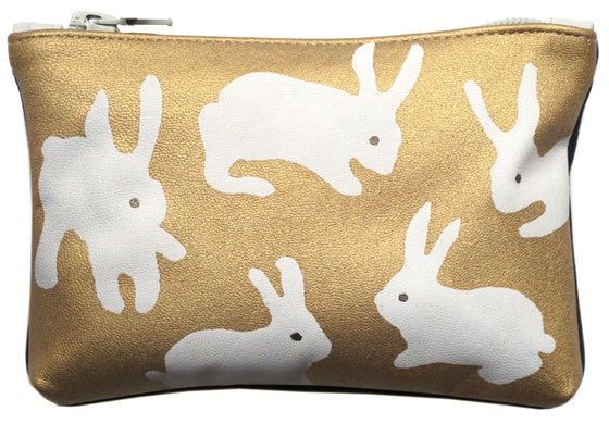 Image of Leather Gold Rabbits Purse Medium