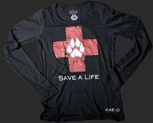 Save-A-Life Women's Burnout LS Tee - Black
