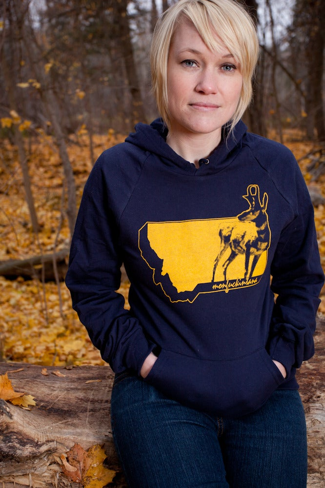 Image of  Pullover Hoodie: Leanin' Pronghorn (Navy)