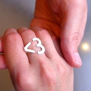 Image of I <3 U emoticon heart text heart ring - Handmade Silver Heart Ring
