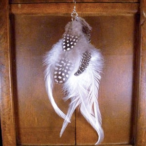 Image of Spotted & White Feather Earring