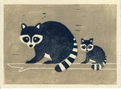 Image of RACCOONS hand-pulled linocut illustration art print