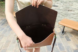 """Image of Handmade Leather Briefcase Portfolio Messenger 17"""" MacBook Pro Case / Bag - Brown with Green (m05)"""