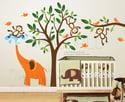 Kids Wall decal wall sticker nursery decal Art -Monkeys & Elephant Having Fun Together - 105 - child