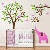 Image of Kids Wall decal wall sticker nursery decal Art -Monkeys & Elephant Having Fun Together - 105 - child