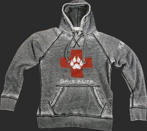Save-A-Life Burnout Pull-Over Hoodie - Charcoal