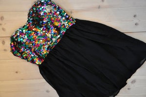 Image of Fashionable colorful sequined cocktail dress