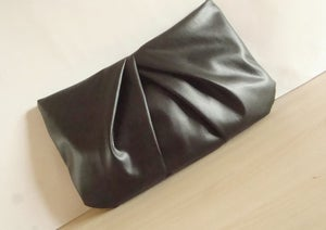 Image of Vegan Leather Clutch Black Pleated Zippered