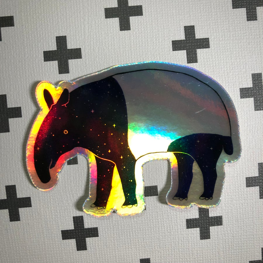 Image of holographic space tapir sticker