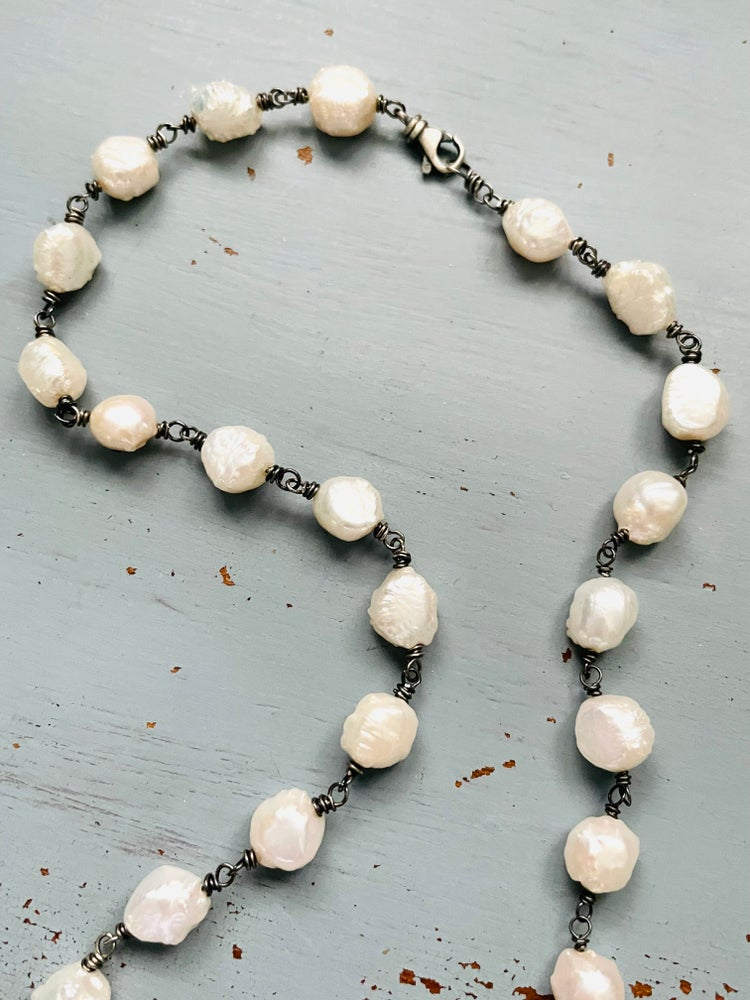 Image of baroque pearl and opal necklace