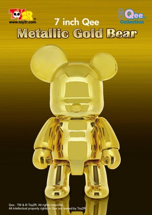 Image of Metallic Gold Qee Bear 7""