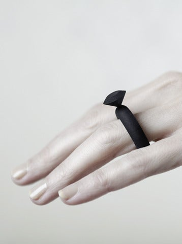 Image of Fat Diamond Jointed Ring - Black