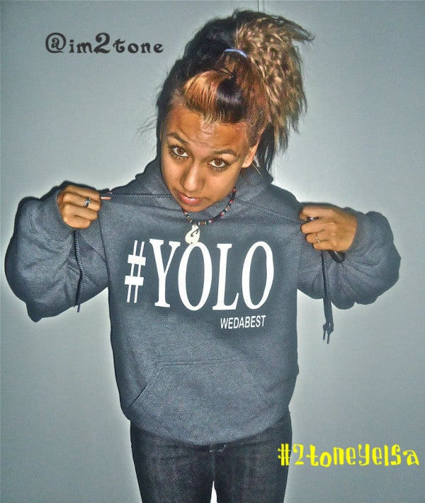 Image of Grey and WHite EXCLUSIVE #YOLO HOODIE