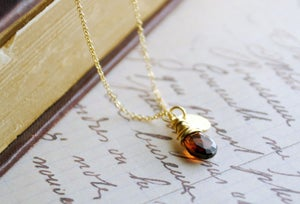 Image of Gold Filled Custom Initial and Garnet Birthstone Necklace