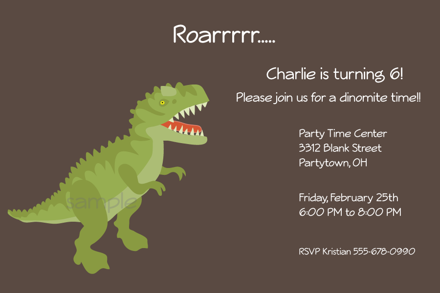 Image Of T Rex Printable Party Invitation