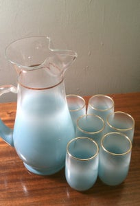 Image of Vintage Turquoise Blendo Glassware: Frosted Pitcher and 6 Glasses