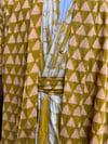 •Laaba• wrap jacket: hand - printed geo:  sun-dried palm + peach